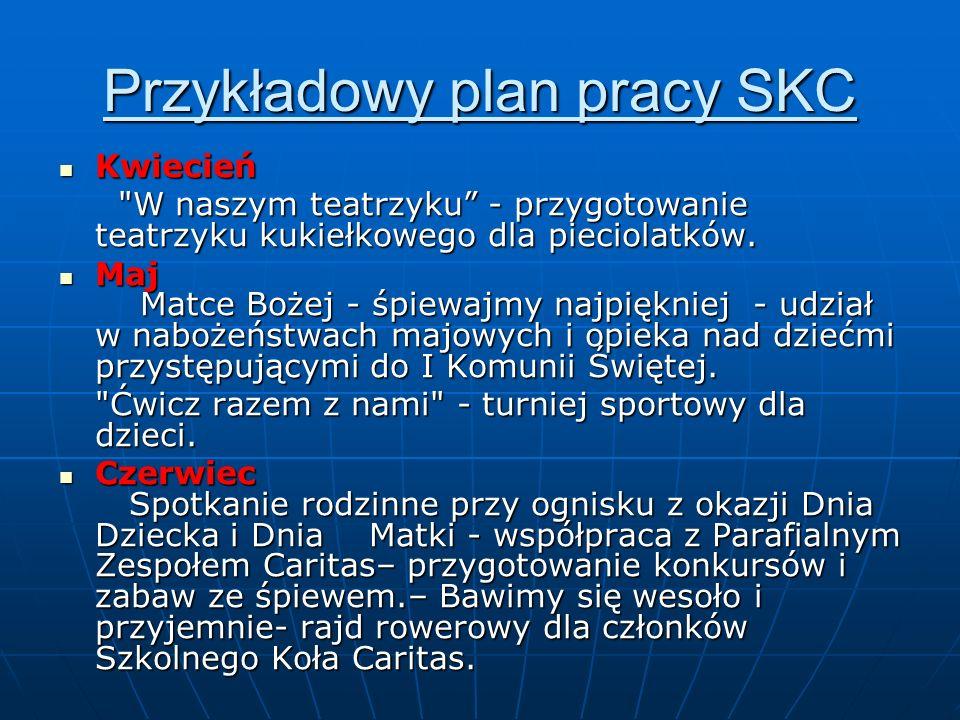 Przykładowy plan pracy SKC Kwiecień Kwiecień