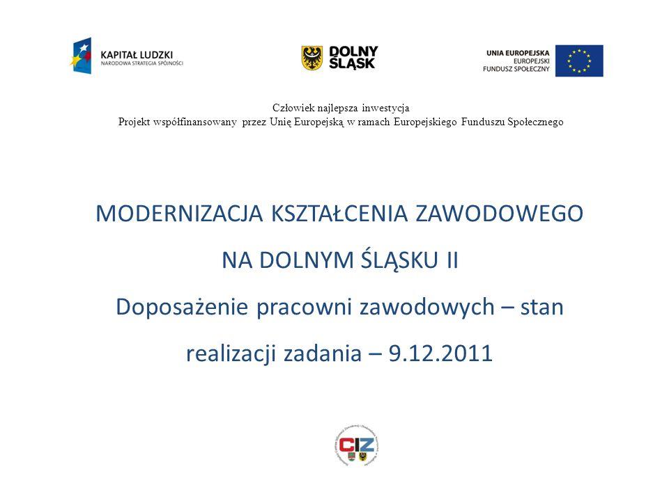 Człowiek najlepsza inwestycja Projekt współfinansowany przez Unię Europejską w ramach Europejskiego Funduszu Społecznego MODERNIZACJA KSZTAŁCENIA ZAWODOWEGO NA DOLNYM ŚLĄSKU II Doposażenie pracowni zawodowych – stan realizacji zadania – 9.12.2011
