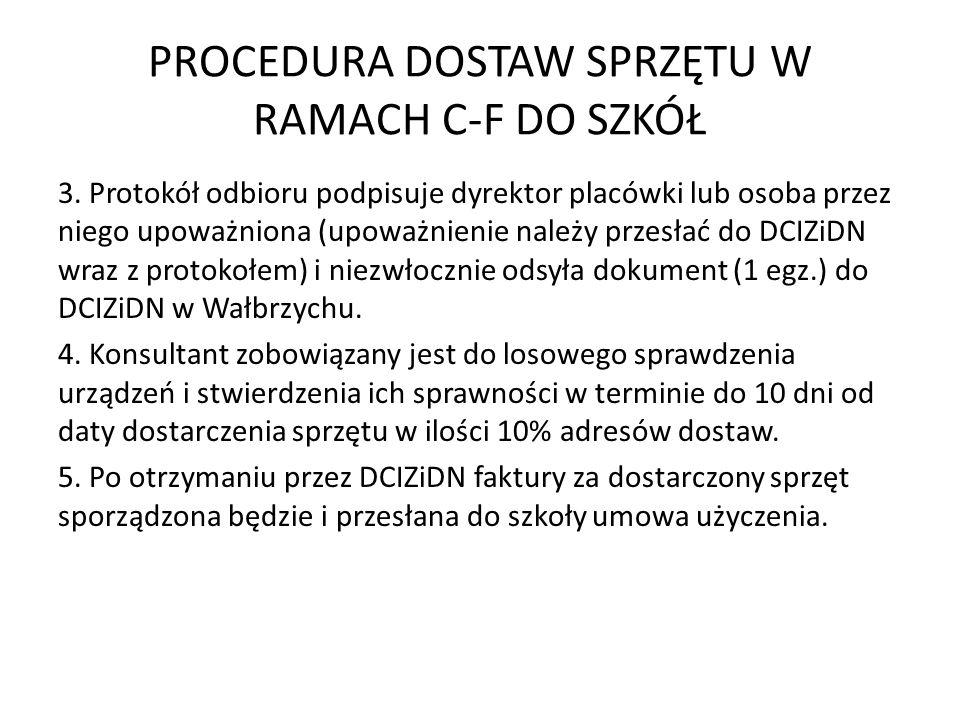 PROCEDURA DOSTAW SPRZĘTU W RAMACH C-F DO SZKÓŁ 3. Protokół odbioru podpisuje dyrektor placówki lub osoba przez niego upoważniona (upoważnienie należy