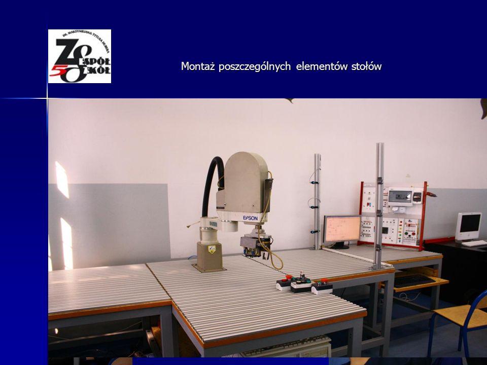 Montowanie blatów i profili aluminiowych na stołach Montaż poszczególnych elementów stołów