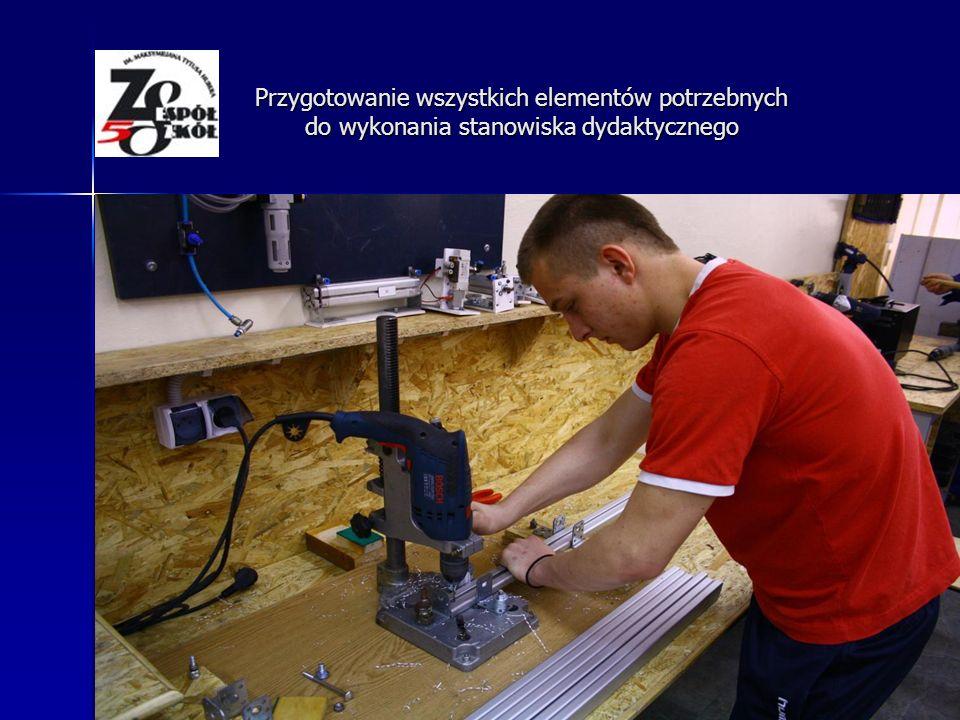 Montowanie i malowanie stołów Przygotowanie wszystkich elementów potrzebnych do wykonania stanowiska dydaktycznego