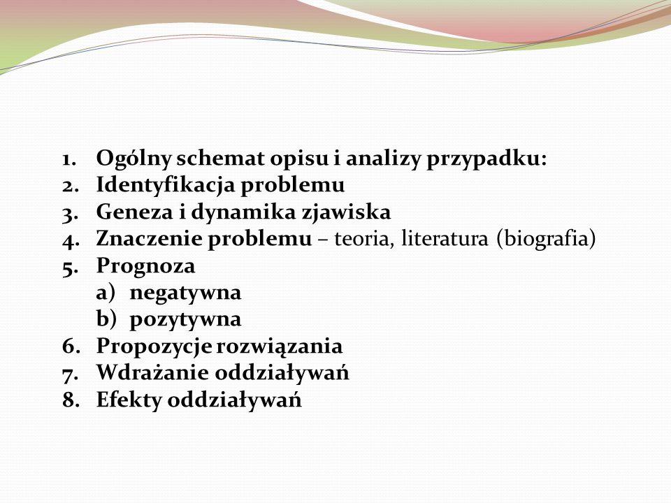 1.Ogólny schemat opisu i analizy przypadku: 2.Identyfikacja problemu 3.Geneza i dynamika zjawiska 4.Znaczenie problemu – teoria, literatura (biografia) 5.Prognoza a)negatywna b)pozytywna 6.Propozycje rozwiązania 7.Wdrażanie oddziaływań 8.Efekty oddziaływań
