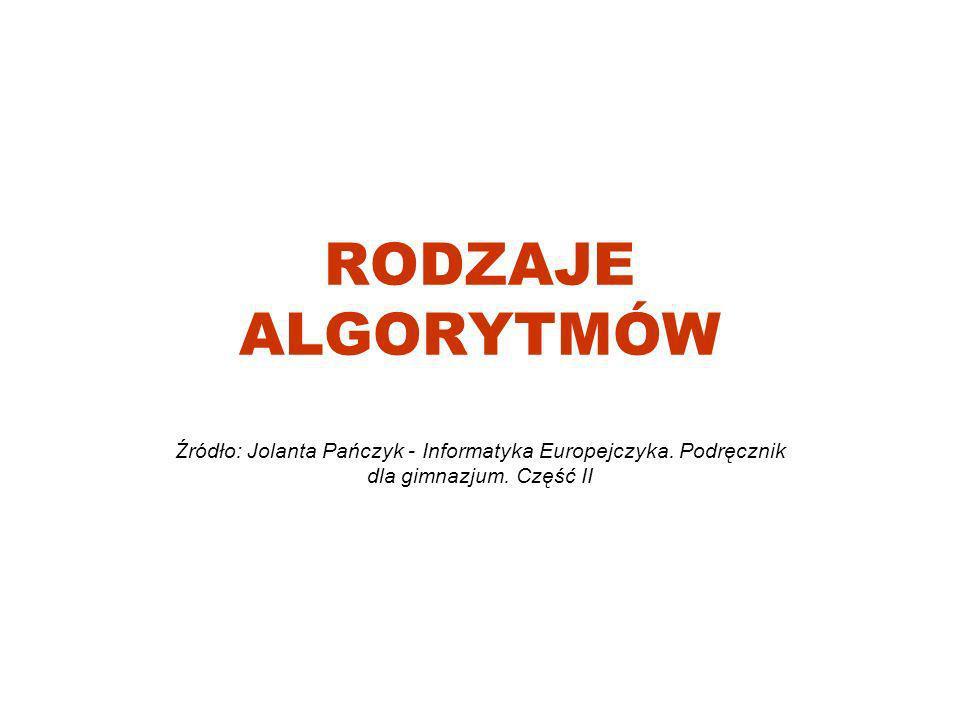 RODZAJE ALGORYTMÓW Źródło: Jolanta Pańczyk - Informatyka Europejczyka. Podręcznik dla gimnazjum. Część II