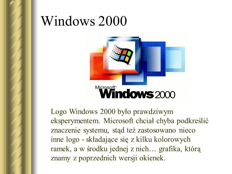 Windows 2000 Logo Windows 2000 było prawdziwym eksperymentem. Microsoft chciał chyba podkreślić znaczenie systemu, stąd też zastosowano nieco inne log