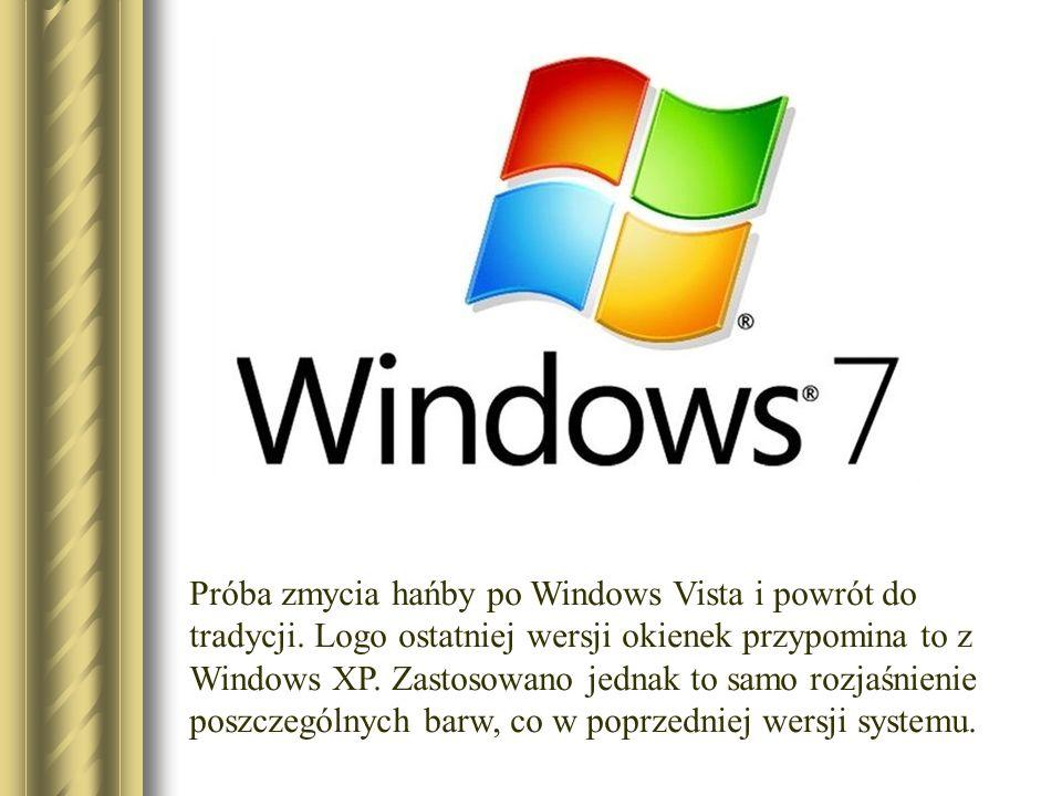 Próba zmycia hańby po Windows Vista i powrót do tradycji. Logo ostatniej wersji okienek przypomina to z Windows XP. Zastosowano jednak to samo rozjaśn