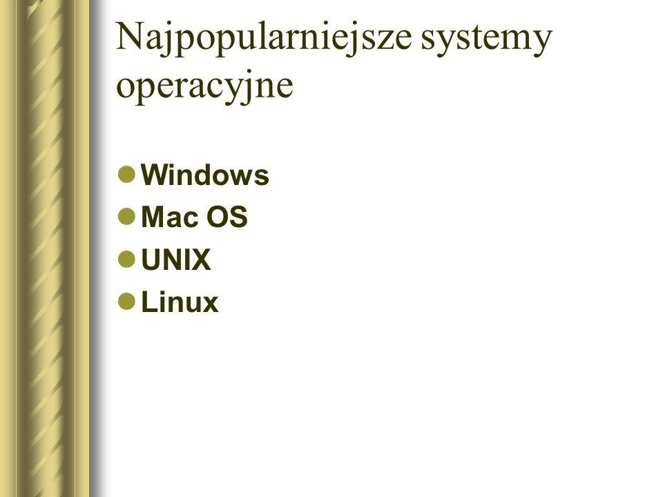 Najpopularniejsze systemy operacyjne Windows Mac OS UNIX Linux
