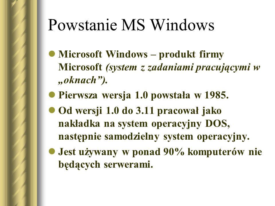 Powstanie MS Windows Microsoft Windows – produkt firmy Microsoft (system z zadaniami pracującymi w oknach). Pierwsza wersja 1.0 powstała w 1985. Od we
