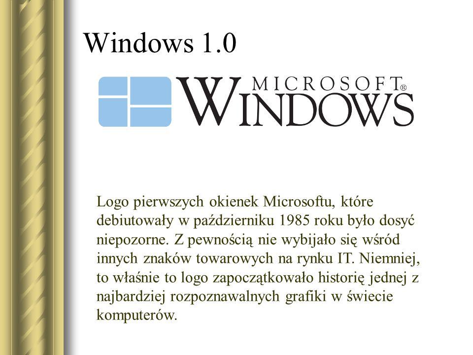 Windows 1.0 Logo pierwszych okienek Microsoftu, które debiutowały w październiku 1985 roku było dosyć niepozorne. Z pewnością nie wybijało się wśród i