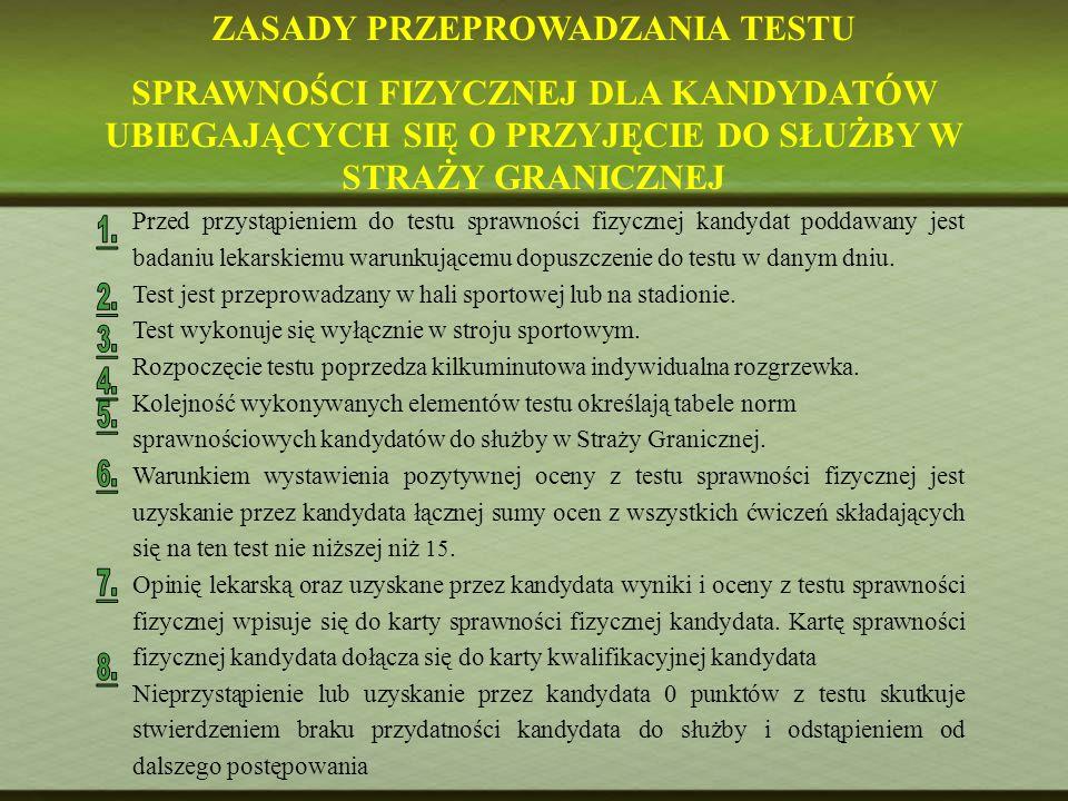 Przed przystąpieniem do testu sprawności fizycznej kandydat poddawany jest badaniu lekarskiemu warunkującemu dopuszczenie do testu w danym dniu. Test