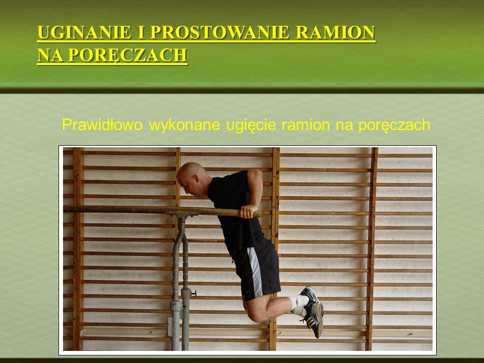 UGINANIE I PROSTOWANIE RAMION NA PORĘCZACH UGINANIE I PROSTOWANIE RAMION NA PORĘCZACH Prawidłowo wykonane ugięcie ramion na poręczach