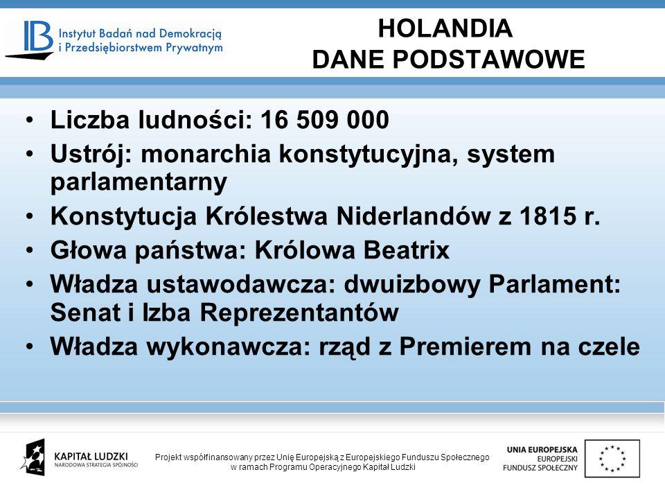 Liczba ludności: 16 509 000 Ustrój: monarchia konstytucyjna, system parlamentarny Konstytucja Królestwa Niderlandów z 1815 r. Głowa państwa: Królowa B