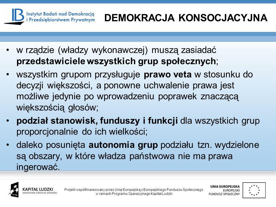 w rządzie (władzy wykonawczej) muszą zasiadać przedstawiciele wszystkich grup społecznych; wszystkim grupom przysługuje prawo veta w stosunku do decyzji większości, a ponowne uchwalenie prawa jest możliwe jedynie po wprowadzeniu poprawek znaczącą większością głosów; podział stanowisk, funduszy i funkcji dla wszystkich grup proporcjonalnie do ich wielkości; daleko posunięta autonomia grup podziału tzn.