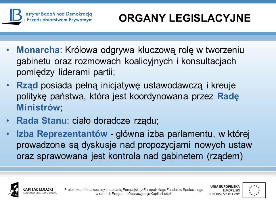 Monarcha: Królowa odgrywa kluczową rolę w tworzeniu gabinetu oraz rozmowach koalicyjnych i konsultacjach pomiędzy liderami partii; Rząd posiada pełną inicjatywę ustawodawczą i kreuje politykę państwa, która jest koordynowana przez Radę Ministrów; Rada Stanu: ciało doradcze rządu; Izba Reprezentantów - główna izba parlamentu, w której prowadzone są dyskusje nad propozycjami nowych ustaw oraz sprawowana jest kontrola nad gabinetem (rządem) ORGANY LEGISLACYJNE Projekt współfinansowany przez Unię Europejską z Europejskiego Funduszu Społecznego w ramach Programu Operacyjnego Kapitał Ludzki