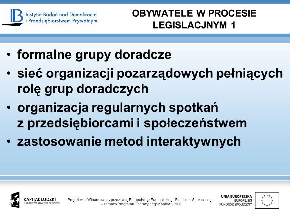 formalne grupy doradcze sieć organizacji pozarządowych pełniących rolę grup doradczych organizacja regularnych spotkań z przedsiębiorcami i społeczeńs