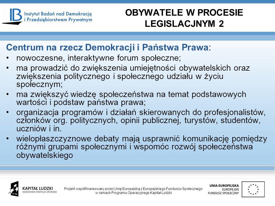 Centrum na rzecz Demokracji i Państwa Prawa: nowoczesne, interaktywne forum społeczne; ma prowadzić do zwiększenia umiejętności obywatelskich oraz zwi