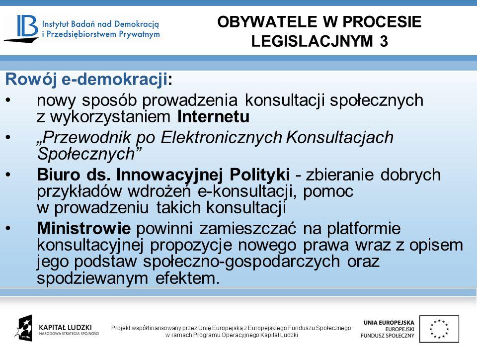 Rowój e-demokracji: nowy sposób prowadzenia konsultacji społecznych z wykorzystaniem Internetu Przewodnik po Elektronicznych Konsultacjach Społecznych Biuro ds.