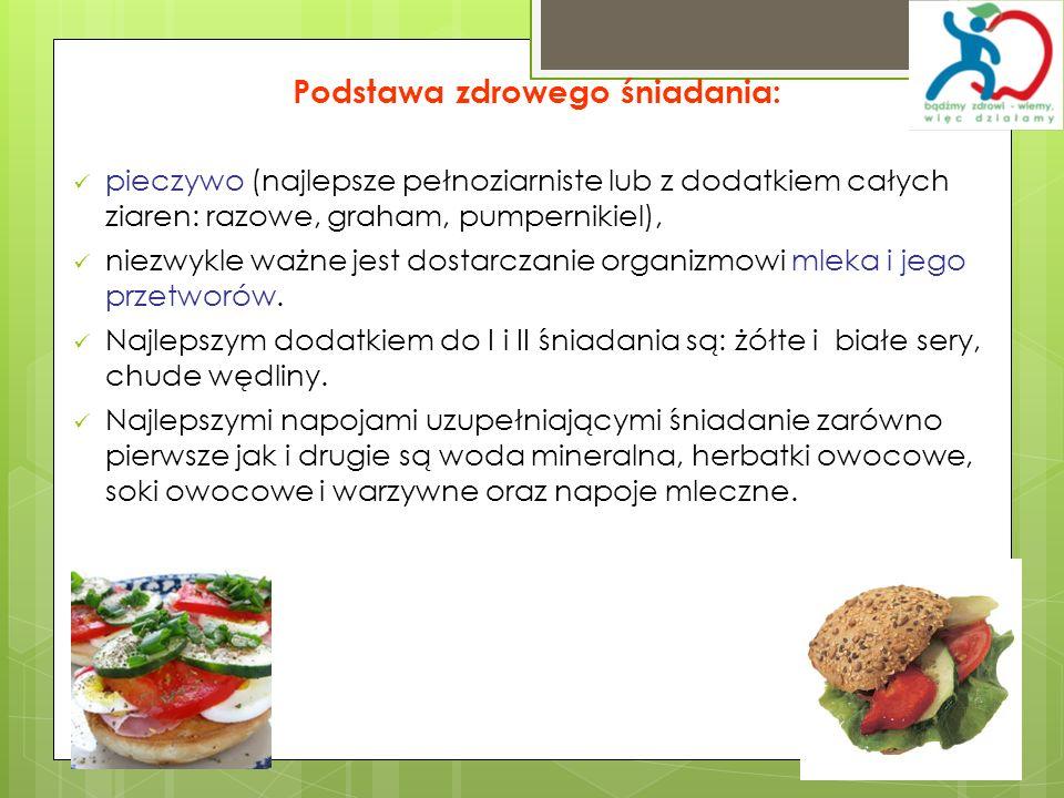 Podstawa zdrowego śniadania: pieczywo (najlepsze pełnoziarniste lub z dodatkiem całych ziaren: razowe, graham, pumpernikiel), niezwykle ważne jest dos