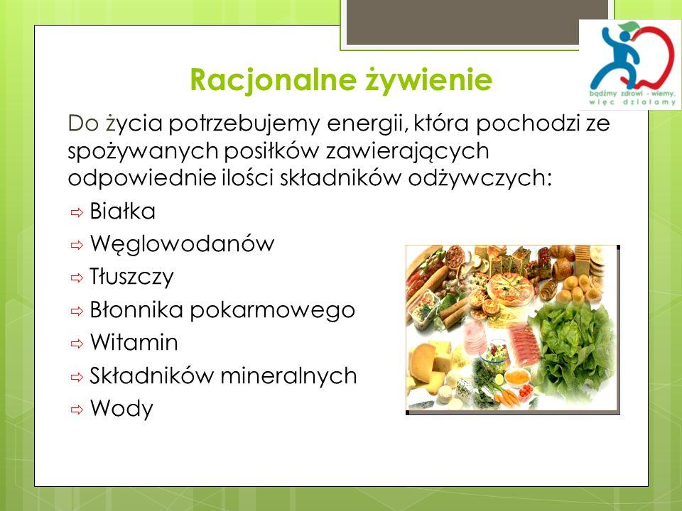 Racjonalne żywienie Do życia potrzebujemy energii, która pochodzi ze spożywanych posiłków zawierających odpowiednie ilości składników odżywczych: Biał