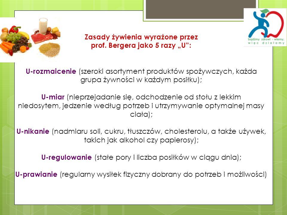 Zasady żywienia wyrażone przez prof. Bergera jako 5 razy U: U-rozmaicenie (szeroki asortyment produktów spożywczych, każda grupa żywności w każdym pos