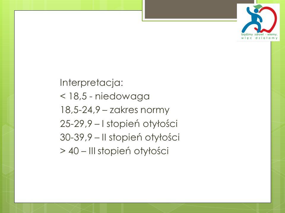 Interpretacja: < 18,5 - niedowaga 18,5-24,9 – zakres normy 25-29,9 – I stopień otyłości 30-39,9 – II stopień otyłości > 40 – III stopień otyłości