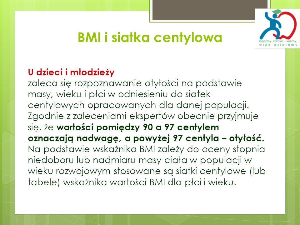 BMI i siatka centylowa U dzieci i młodzieży zaleca się rozpoznawanie otyłości na podstawie masy, wieku i płci w odniesieniu do siatek centylowych opra