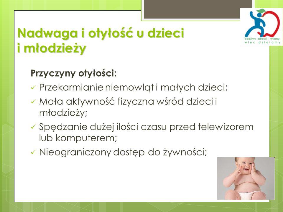 Nadwaga i otyłość u dzieci i młodzieży Przyczyny otyłości: Przekarmianie niemowląt i małych dzieci; Mała aktywność fizyczna wśród dzieci i młodzieży;