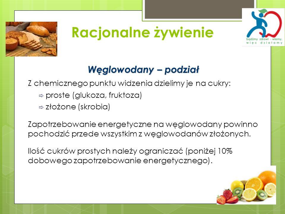 Racjonalne żywienie Węglowodany – podział Z chemicznego punktu widzenia dzielimy je na cukry: proste (glukoza, fruktoza) złożone (skrobia) Zapotrzebow
