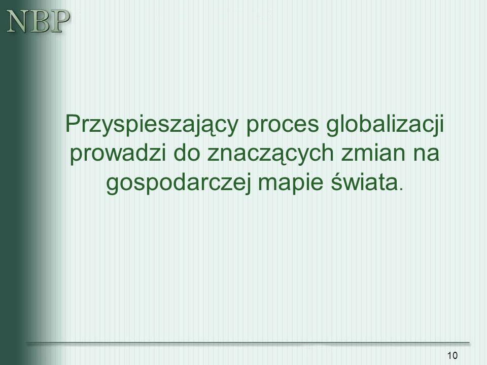 10 Przyspieszający proces globalizacji prowadzi do znaczących zmian na gospodarczej mapie świata.