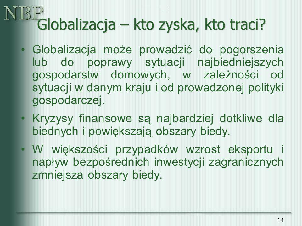 14 Globalizacja może prowadzić do pogorszenia lub do poprawy sytuacji najbiedniejszych gospodarstw domowych, w zależności od sytuacji w danym kraju i