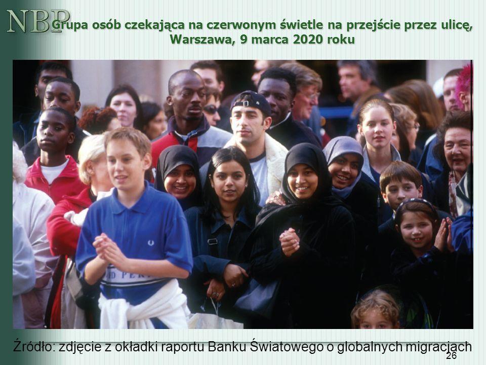 26 Grupa osób czekająca na czerwonym świetle na przejście przez ulicę, Warszawa, 9 marca 2020 roku Źródło: zdjęcie z okładki raportu Banku Światowego