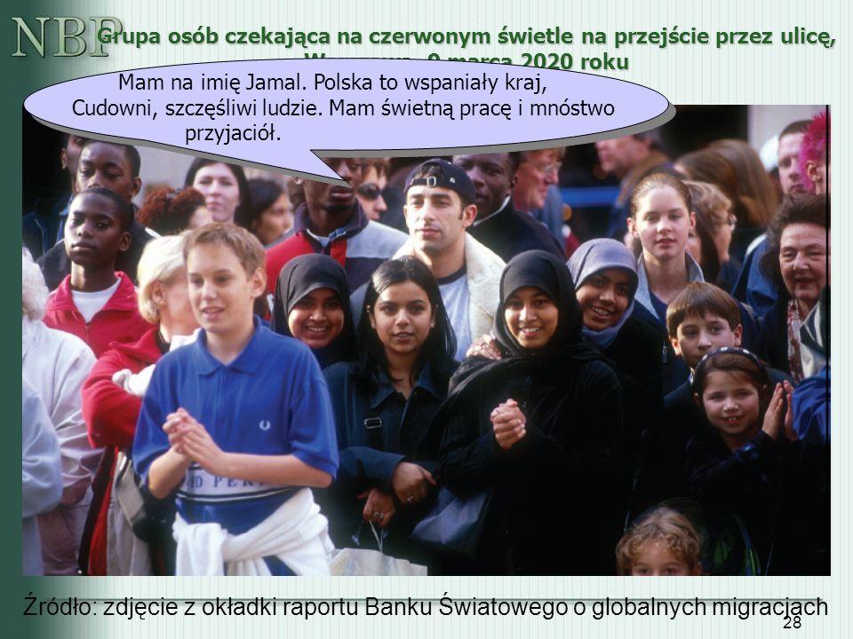 28 Grupa osób czekająca na czerwonym świetle na przejście przez ulicę, Warszawa, 9 marca 2020 roku Źródło: zdjęcie z okładki raportu Banku Światowego
