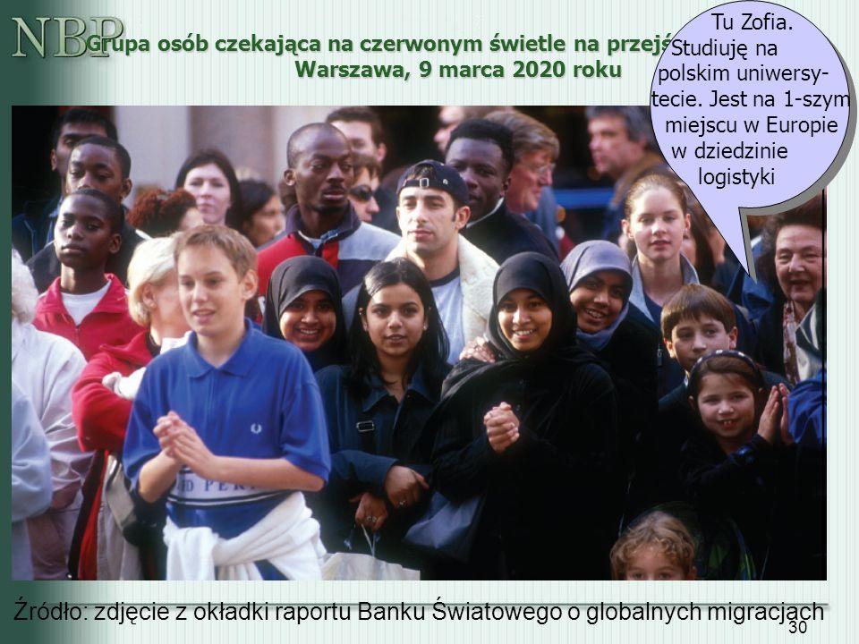 30 Grupa osób czekająca na czerwonym świetle na przejście przez ulicę, Warszawa, 9 marca 2020 roku Źródło: zdjęcie z okładki raportu Banku Światowego