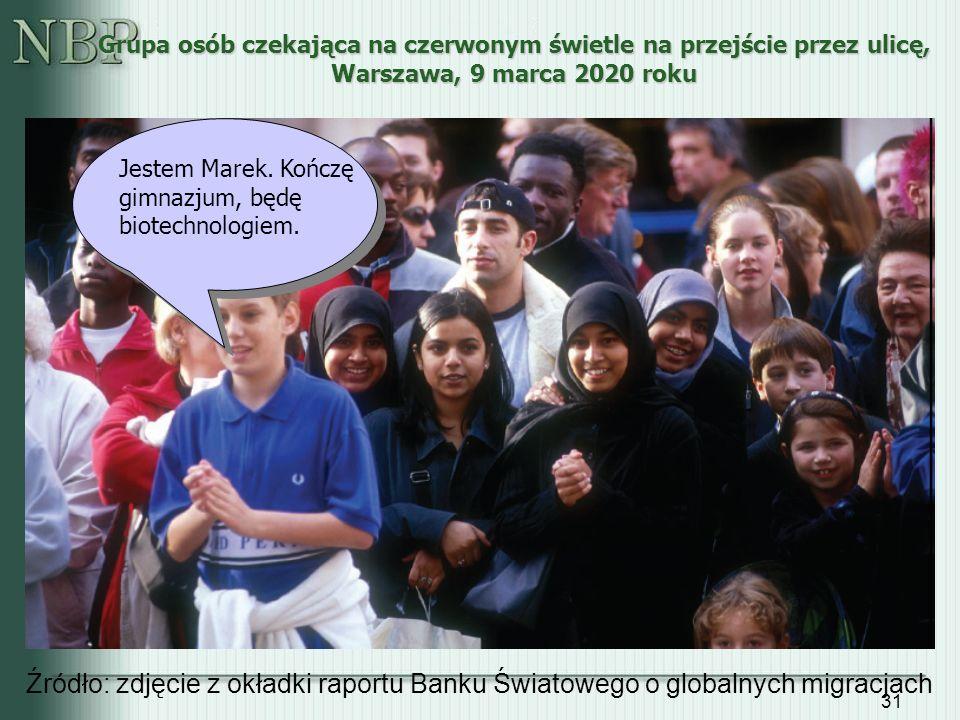 31 Grupa osób czekająca na czerwonym świetle na przejście przez ulicę, Warszawa, 9 marca 2020 roku Źródło: zdjęcie z okładki raportu Banku Światowego