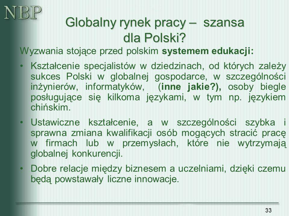 33 Wyzwania stojące przed polskim systemem edukacji: Kształcenie specjalistów w dziedzinach, od których zależy sukces Polski w globalnej gospodarce, w