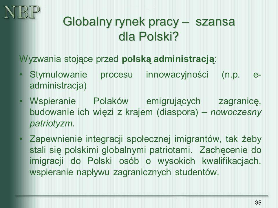 35 Wyzwania stojące przed polską administracją: Stymulowanie procesu innowacyjności (n.p. e- administracja) Wspieranie Polaków emigrujących zagranicę,