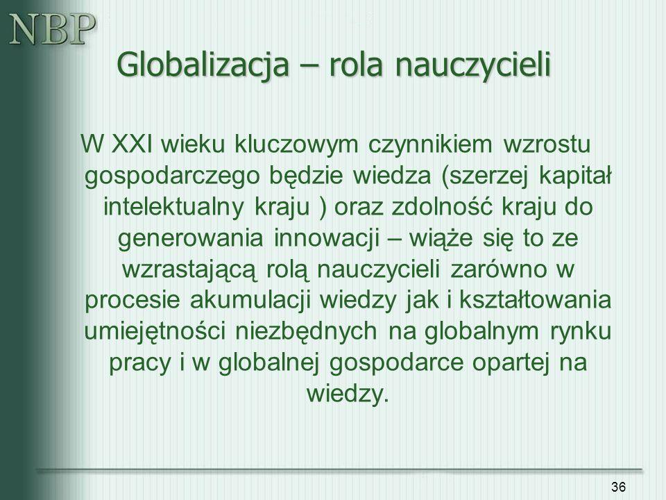 36 Globalizacja – rola nauczycieli W XXI wieku kluczowym czynnikiem wzrostu gospodarczego będzie wiedza (szerzej kapitał intelektualny kraju ) oraz zd