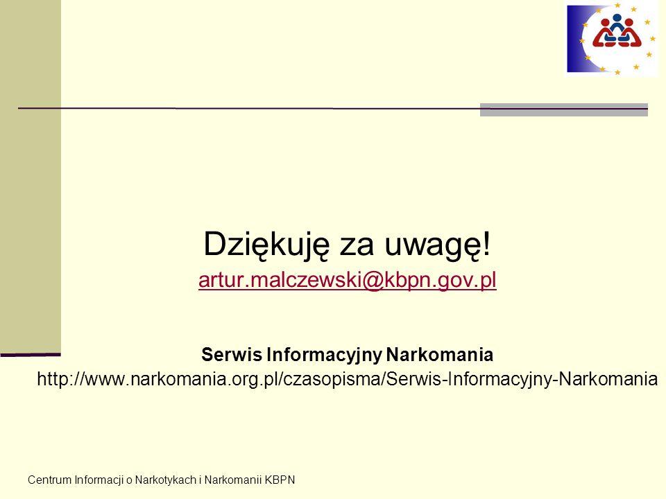 Centrum Informacji o Narkotykach i Narkomanii KBPN Dziękuję za uwagę! artur.malczewski@kbpn.gov.pl Serwis Informacyjny Narkomania http://www.narkomani