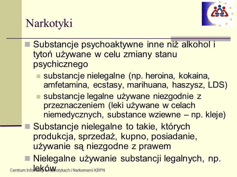 Centrum Informacji o Narkotykach i Narkomanii KBPN Narkotyki Substancje psychoaktywne inne niż alkohol i tytoń używane w celu zmiany stanu psychiczneg