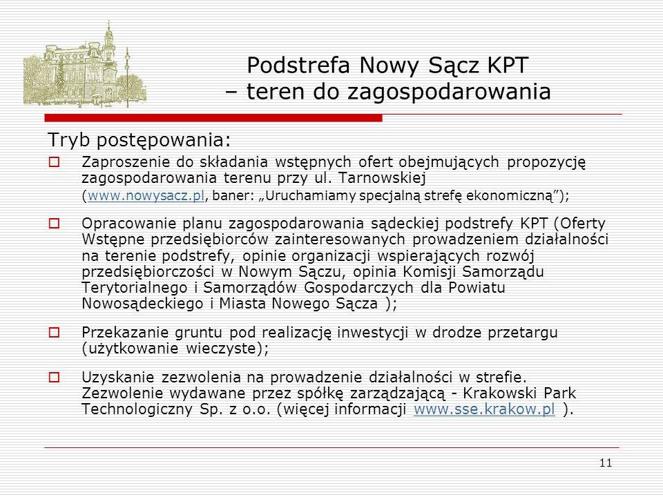 11 Podstrefa Nowy Sącz KPT – teren do zagospodarowania Tryb postępowania: Zaproszenie do składania wstępnych ofert obejmujących propozycję zagospodarowania terenu przy ul.