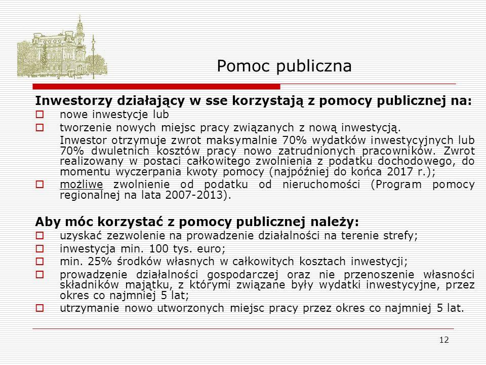 12 Pomoc publiczna Inwestorzy działający w sse korzystają z pomocy publicznej na: nowe inwestycje lub tworzenie nowych miejsc pracy związanych z nową inwestycją.