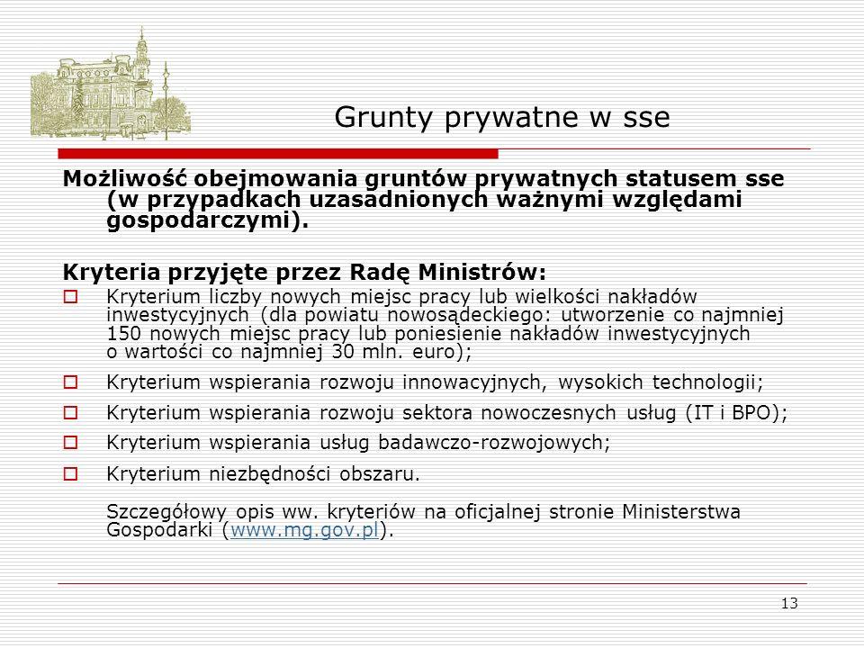 13 Grunty prywatne w sse Możliwość obejmowania gruntów prywatnych statusem sse (w przypadkach uzasadnionych ważnymi względami gospodarczymi).