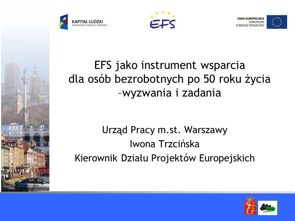 EFS jako instrument wsparcia dla osób bezrobotnych po 50 roku życia –wyzwania i zadania Urząd Pracy m.st. Warszawy Iwona Trzcińska Kierownik Działu Pr