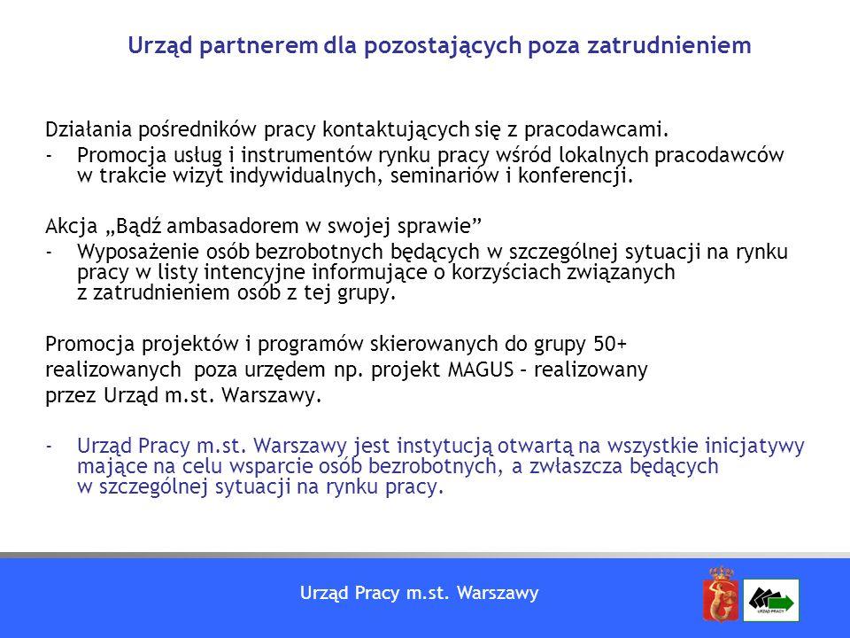 Urząd Pracy m.st. Warszawy Działania pośredników pracy kontaktujących się z pracodawcami. -Promocja usług i instrumentów rynku pracy wśród lokalnych p