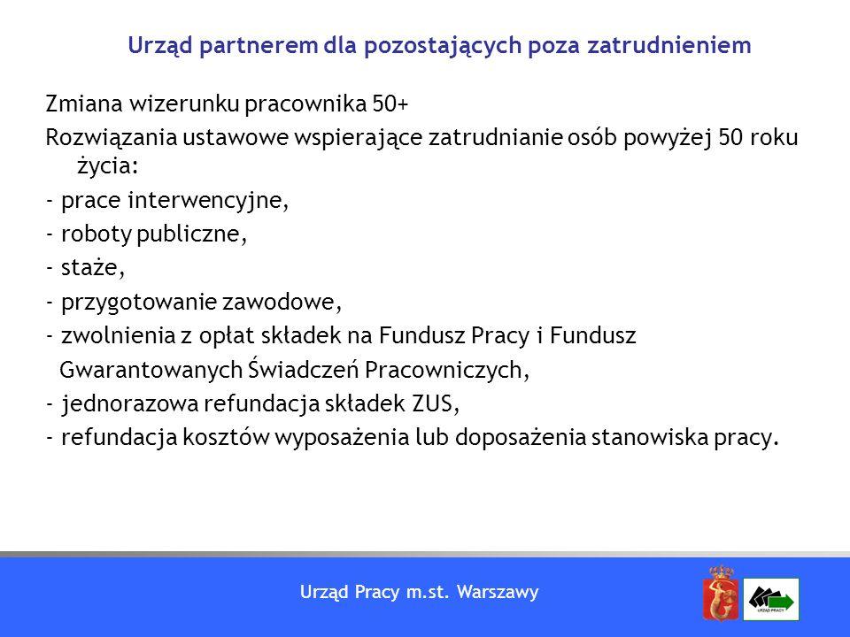 Urząd Pracy m.st. Warszawy Zmiana wizerunku pracownika 50+ Rozwiązania ustawowe wspierające zatrudnianie osób powyżej 50 roku życia: - prace interwenc