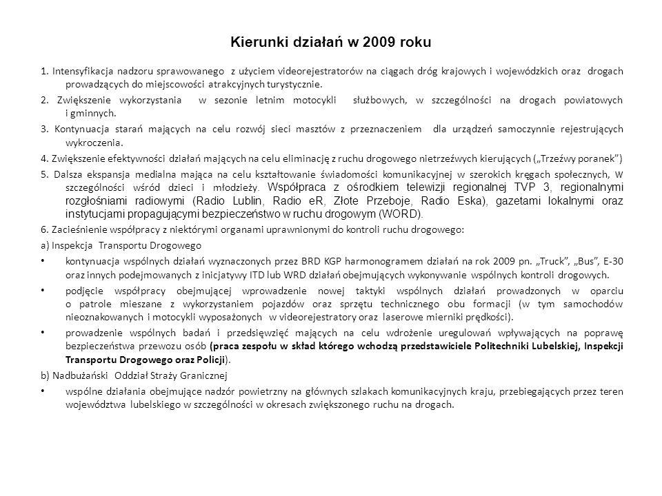Kierunki działań w 2009 roku 1. Intensyfikacja nadzoru sprawowanego z użyciem videorejestratorów na ciągach dróg krajowych i wojewódzkich oraz drogach
