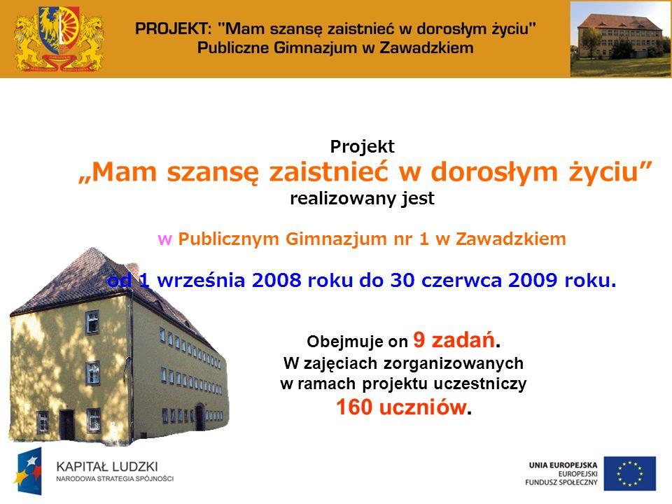 Projekt Mam szansę zaistnieć w dorosłym życiu realizowany jest w Publicznym Gimnazjum nr 1 w Zawadzkiem od 1 września 2008 roku do 30 czerwca 2009 roku.
