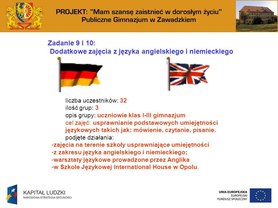 Zadanie 9 i 10: Dodatkowe zajęcia z języka angielskiego i niemieckiego liczba uczestników: 32 ilość grup: 3 opis grupy: uczniowie klas I-III gimnazjum cel zajęć: usprawnianie podstawowych umiejętności językowych takich jak: mówienie, czytanie, pisanie.