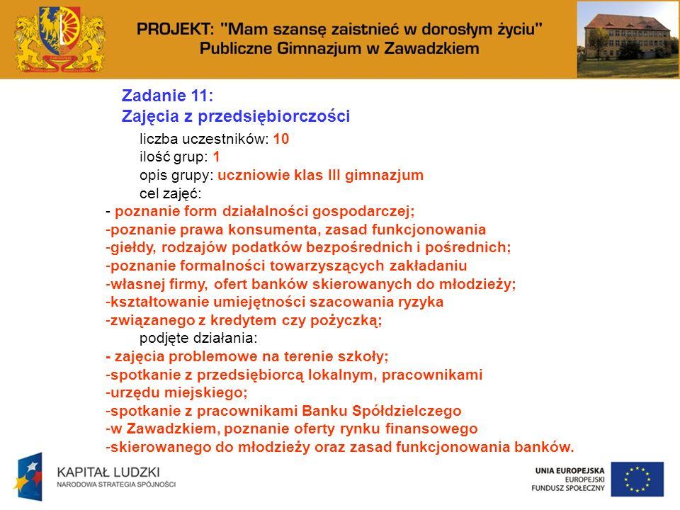 Zadanie 11: Zajęcia z przedsiębiorczości liczba uczestników: 10 ilość grup: 1 opis grupy: uczniowie klas III gimnazjum cel zajęć: - poznanie form dzia