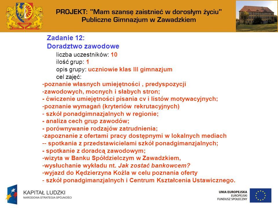 Zadanie 12: Doradztwo zawodowe liczba uczestników: 10 ilość grup: 1 opis grupy: uczniowie klas III gimnazjum cel zajęć: -poznanie własnych umiejętności, predyspozycji -zawodowych, mocnych i słabych stron; - ćwiczenie umiejętności pisania cv i listów motywacyjnych; -poznanie wymagań (kryteriów rekrutacyjnych) - szkół ponadgimnazjalnych w regionie; - analiza cech grup zawodów; - porównywanie rodzajów zatrudnienia; -zapoznanie z ofertami pracy dostępnymi w lokalnych mediach -- spotkania z przedstawicielami szkół ponadgimanzjalnych; - spotkanie z doradcą zawodowym; -wizyta w Banku Spółdzielczym w Zawadzkiem, -wysłuchanie wykładu nt.
