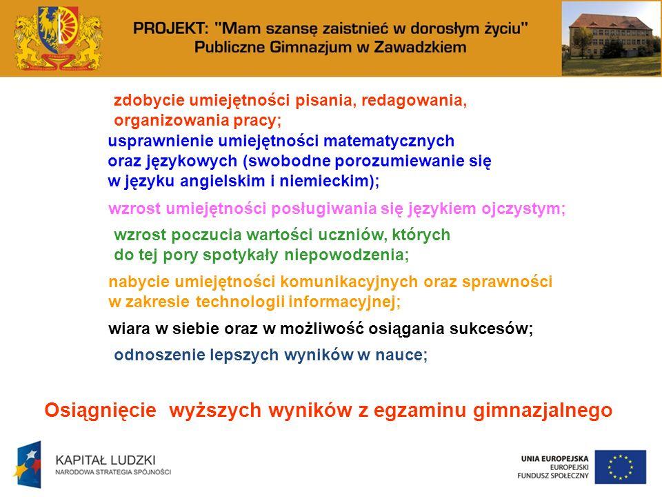 zdobycie umiejętności pisania, redagowania, organizowania pracy; usprawnienie umiejętności matematycznych oraz językowych (swobodne porozumiewanie się